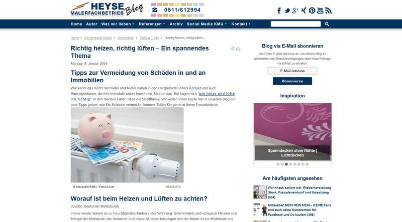 """Screenshot der Webseite von Maler Heyse zum Thema """"Richtig heizen, richtig lüften"""""""