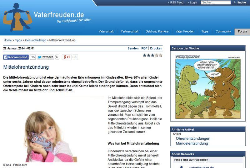 screenshot zum artikel mittelohrentzündung auf vaterfreuden.de