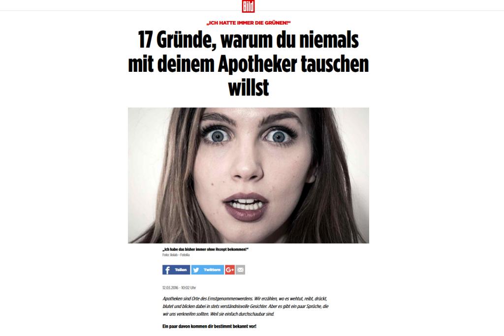 Screenshot BILD-Zeitung: 17 Gründe, warum du niemals mit deinem Apotheker tauschen willst