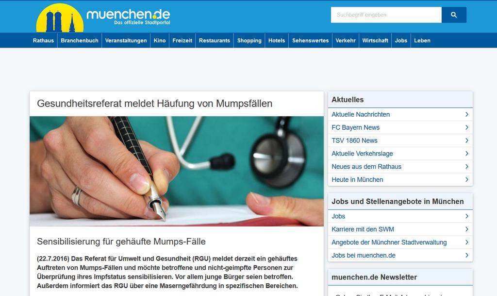 Warnung vor Mumps in München