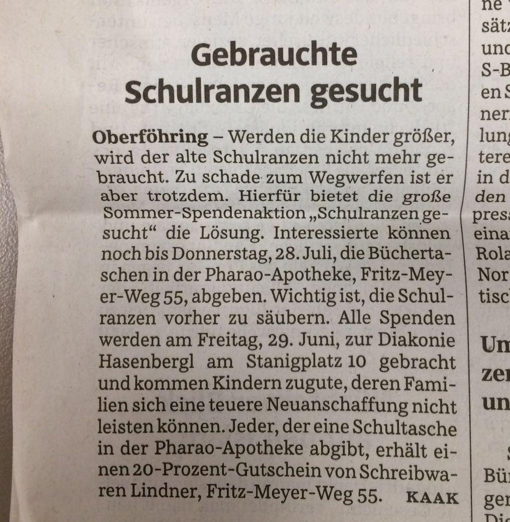 Pharao Apotheke: Unsere Schulranzen-Akton in der Süddeutschen