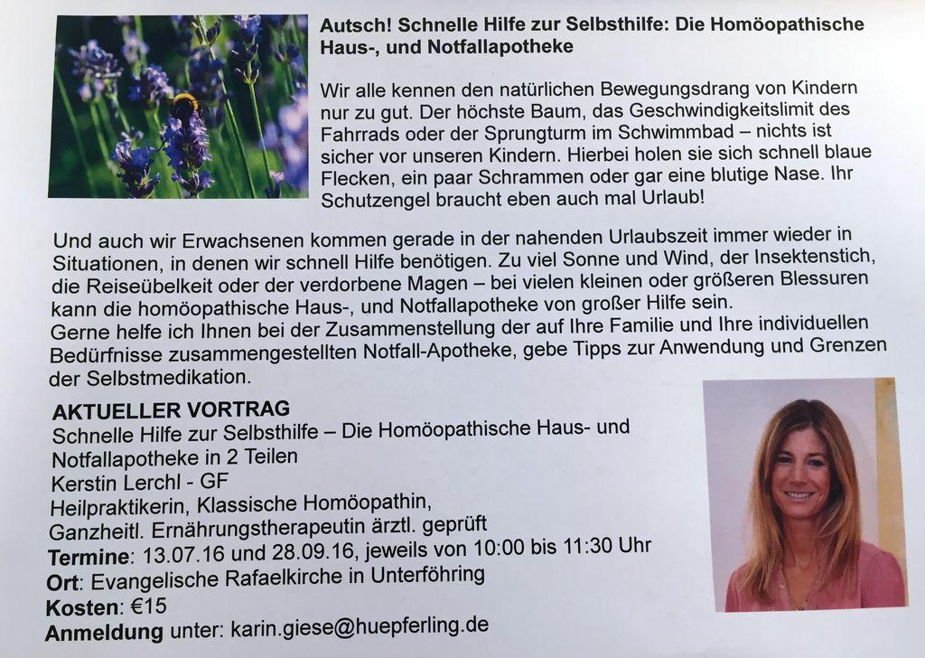 Homöopathische Hausapotheke. Ein Vortrag von Kerstin Lerchl.