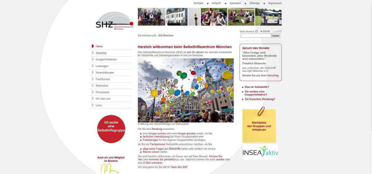 Screenshot der Webseite des Selbsthilfezentrum (SHZ) München
