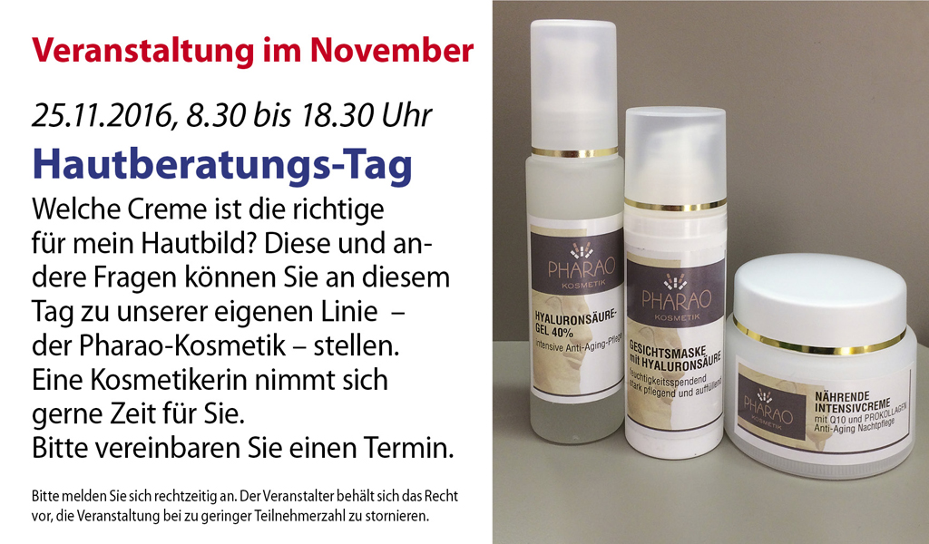 Hautberatungs-Tag in der Pharao Apotheke