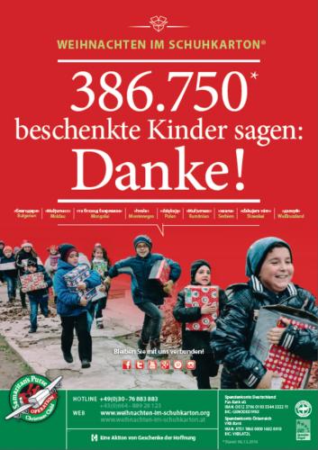 Weihnachten im Schuhkarton: Dankes-Plakat 2016.
