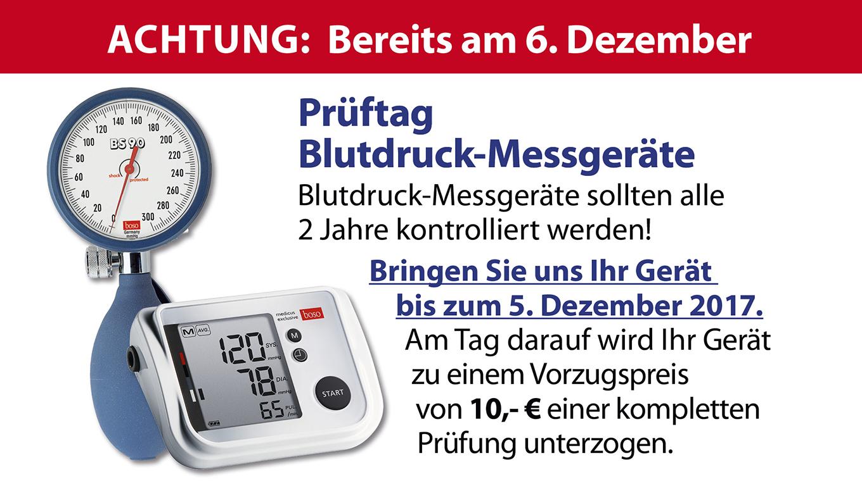 Am 6. Dezember ist Prüftag für Blutdruck-Messgeräte.